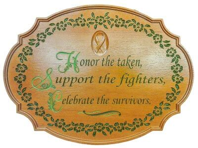 Cancer Plaque Honor Gift Award Hand Painted Sign Serving Tray