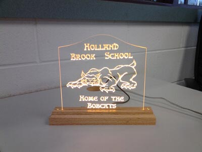 School Mascot Bobcat LED Yellow Carved Sign Holland Brook Home Gift Award
