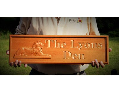Lion Lyon Lyons Lyon's Lions Den Mahogany Carved CNC Sign Gift Family Room Name