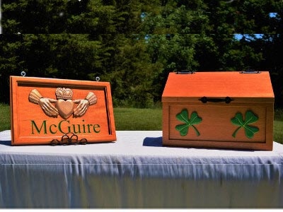 Irish Mahogany Claddagh McGuire Mail Box Sign Family Shamrock Hand Painted Carved CNC Name Gift Anniversary Wedding Birthday