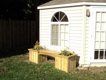 Outside Furniture Planters Bench Natural Seating Fence Garden Studio Garage