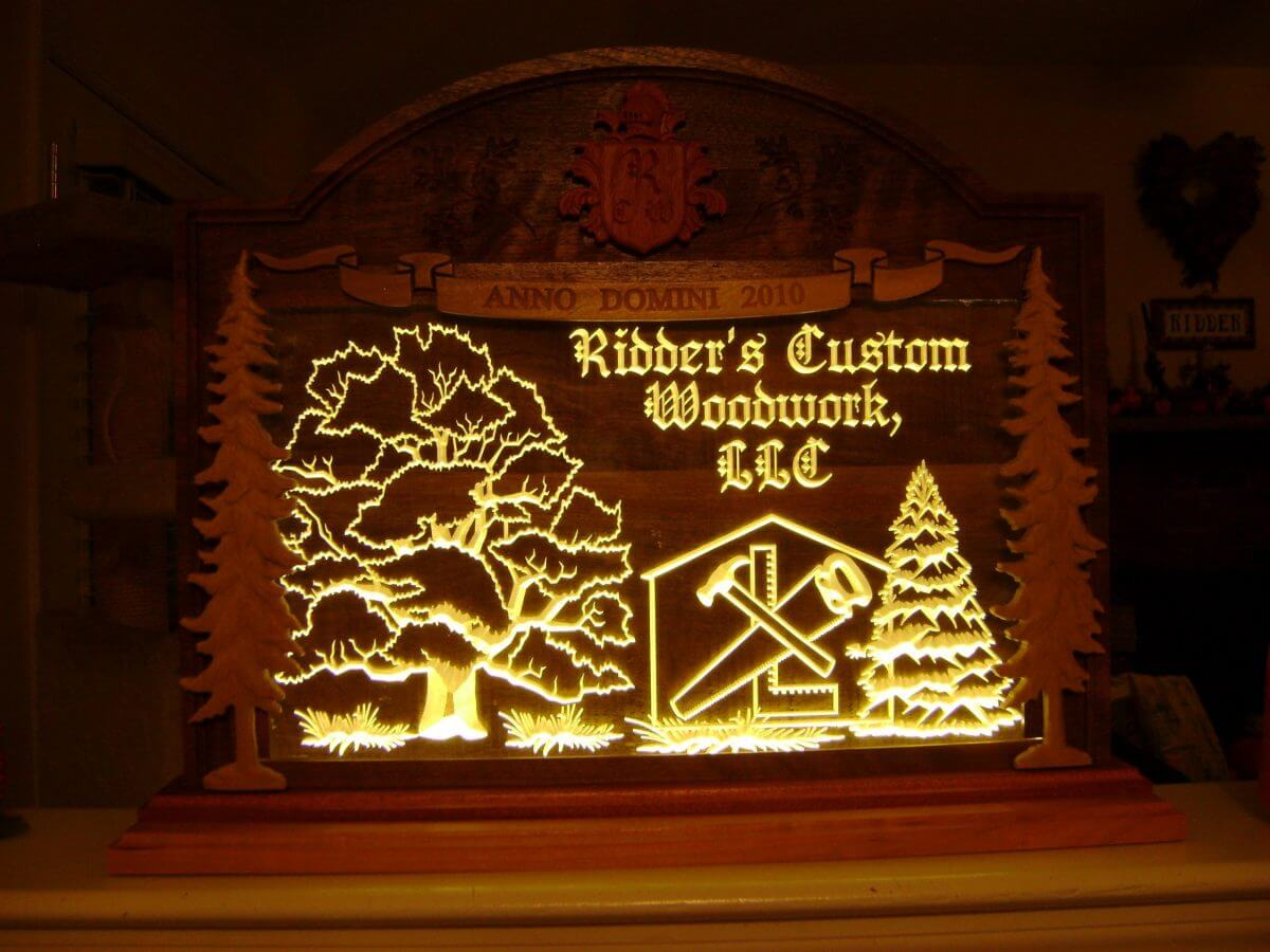 LED Sign Advertise Advertising Shop Wood Various Tree Trees Maple Mahogany Cherry Poplar Carved CNC Black Walnut