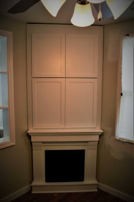 Corner Cabinet TV Entertainment Paint White Fire Fireplace
