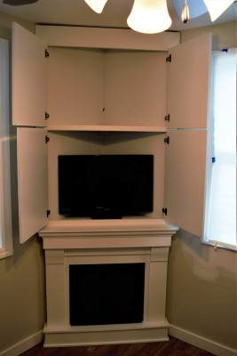 Corner Cabinet TV Entertainment Paint White Fire Fireplace Storage