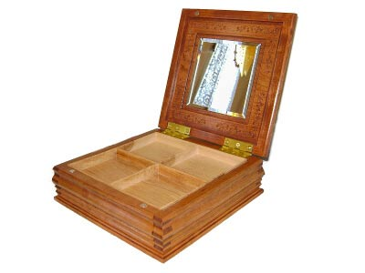 Gift Jewelry Box Cherry Mahogany Inlay Rose Carved Anniversary Wedding Birthday Mirror Magnet Magnets Finger Joint Box Inserts